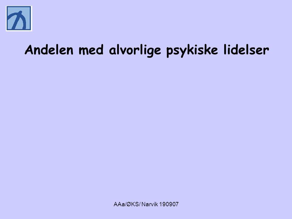 AAa/ØKS/ Narvik 190907 • 71 % av dem som var til behandling i russektoren oppfylte kriteriene for en alvorlig psykiske lidelse i løpet av livet: • bipolar lidelse (5 %) • alvorlig angstlidelse (41 %) • alvorlig depresjon (37 %) • alvorlig personlighetsforstyrrelse (kluster a) (28 %) • IKKE GRUPPE 2 SLIK DEN ER BESKREVET I STORTINGSMELDING NR.