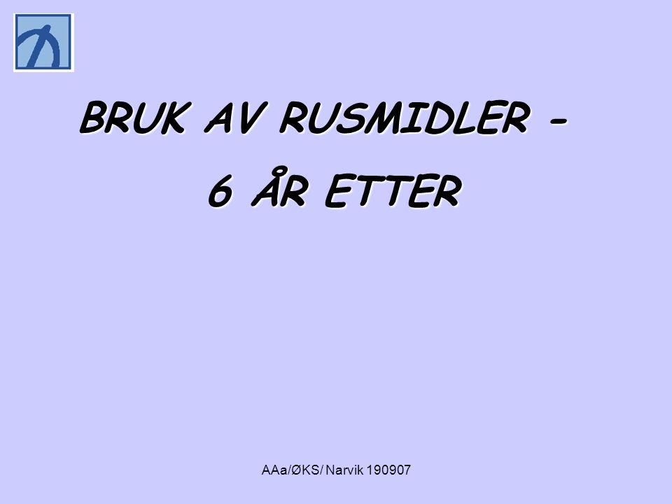 AAa/ØKS/ Narvik 190907 • AUDIT • DUDIT • Antall enheter på en typisk drikkedag ved T1 og T2 • Antall måneder totalt rusfri mellom T1 og T2