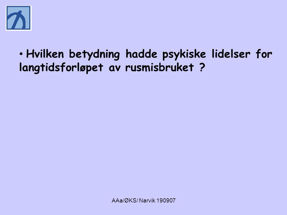 AAa/ØKS/ Narvik 190907 • Personer med et rusmisbruk ved oppfølgings- tidspunktet hadde en høyere livstidsforekomst av agorafobi og depresjon sammenlignet med de rusfrie.
