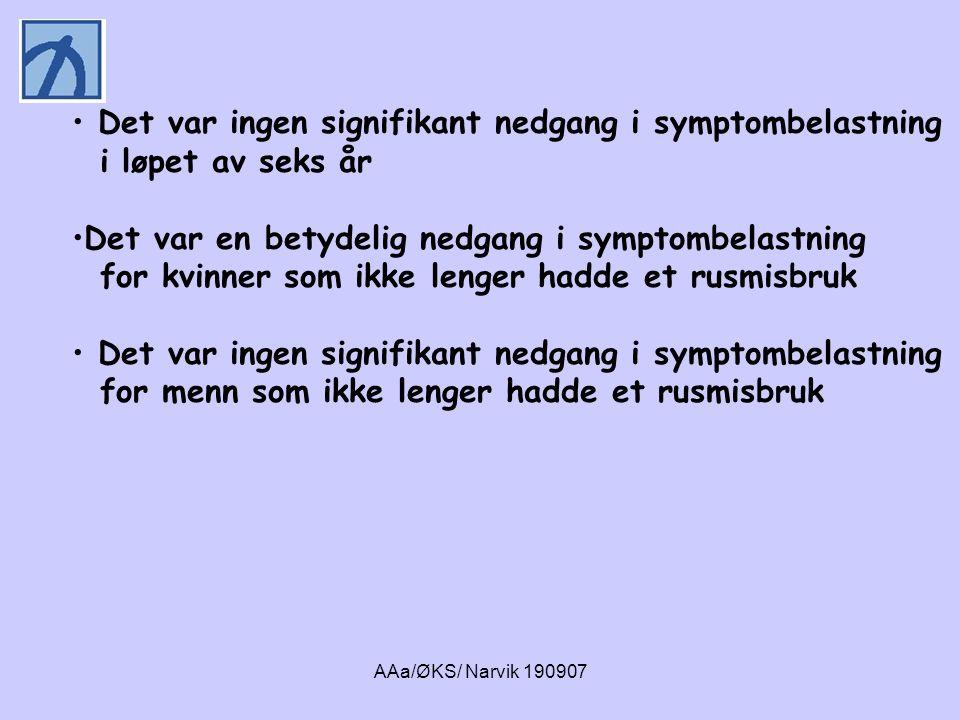 AAa/ØKS/ Narvik 190907 Oppsummering • En stor andel av pasientene i russektoren hadde alvorlige angstlidelser, alvorlig depresjon og alvorlige personlighetsforstyrrelser • Personer med et rusmisbruk ved oppfølgingstids- punktet (T2) hadde en høyere livstidsforekomst av agorafobi og depresjon sammenlignet med de rusfrie • Personer med et rusmisbruk ved oppfølgingstidspunktet hadde høyere symptombelastning ved T2, enn de rusfrie • En forholdsvis stor andel av pasientene hadde vandret mellom russektoren og psykisk helsevern