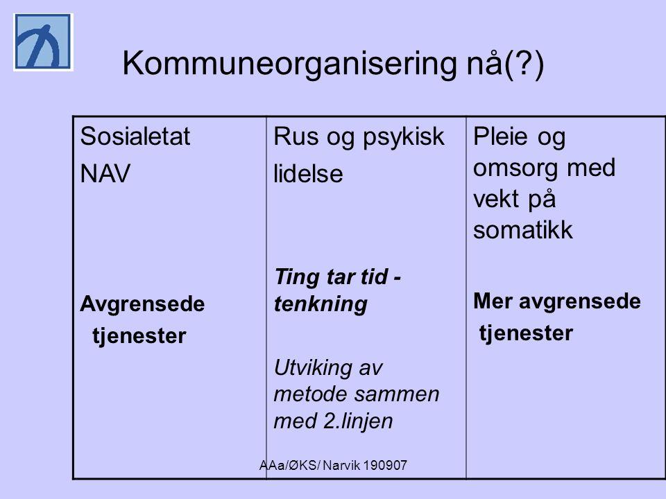 AAa/ØKS/ Narvik 190907 Behandling og omsorg for de dårligste •Spennende botiltak og booppfølging i kommunene •Oppsøkende team og ambulante tiltak •Spesialinstitusjoner med både utredning og behandling