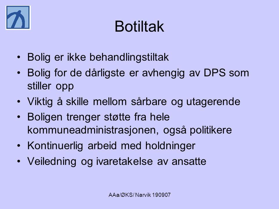 AAa/ØKS/ Narvik 190907 Oppsøkende team •Liten caseload •Høy andel av kontakten er hjemmebesøk •Ansvar for et samlet tjenestetilbud •Psykiatrisk kompetanse (gjerne psykiater) i teamet Trenger vi generalisteam eller spesialteam.