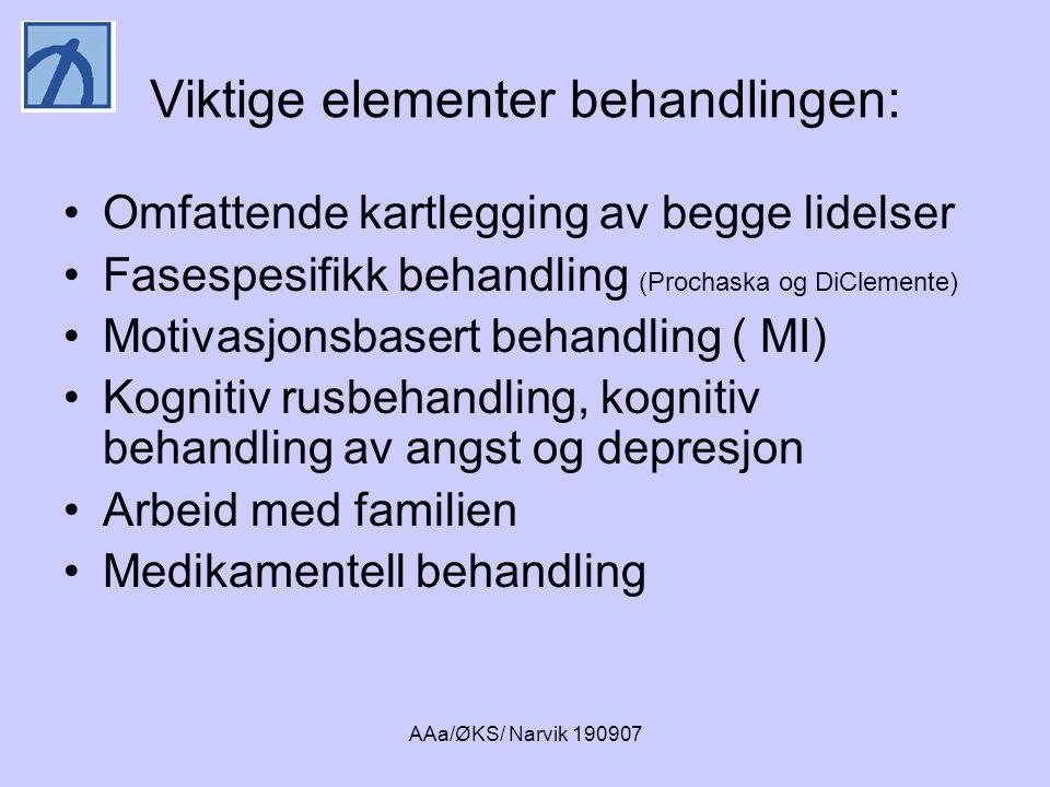 AAa/ØKS/ Narvik 190907 Holdning til rus og psykisk lidelse •Rus er noe vi kan slutte med, psykisk lidelse er noe vi har.