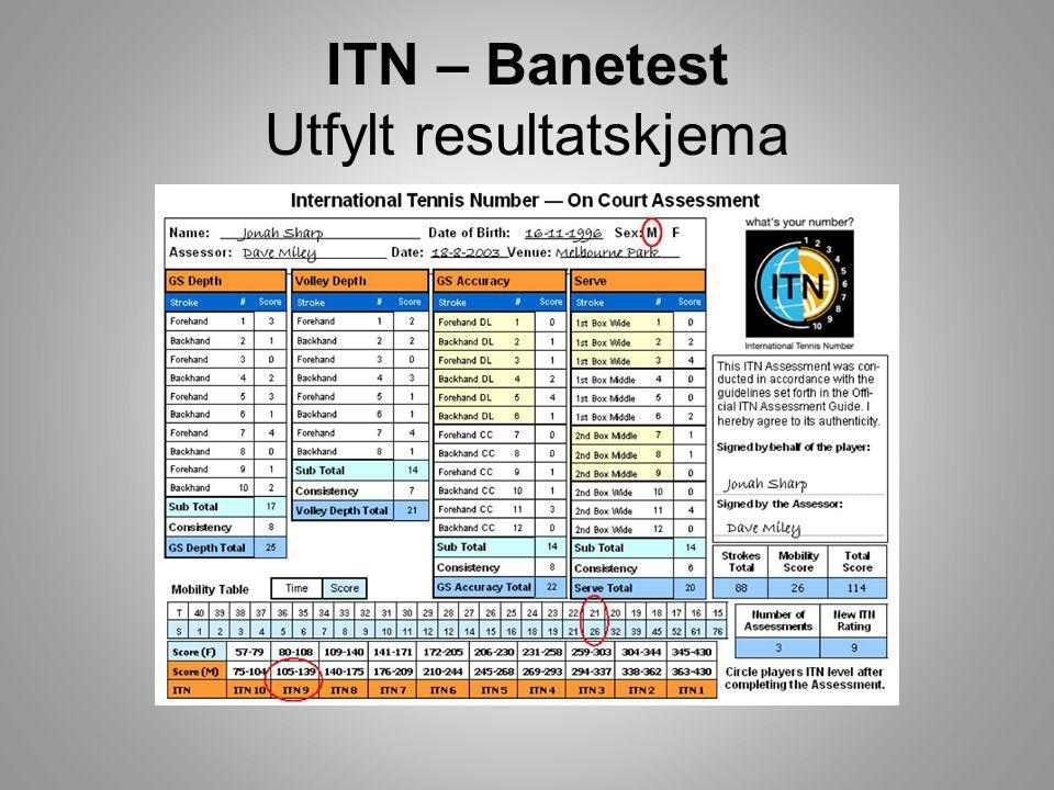 ITN – Rankingkamper • 3 sets kamper • Først til 4 games m/no add • På a 4 spilles tie-break • Avgjørende set er tie-break • Slår du en spiller med bedre ITN - bonuspoeng • Taper du for en spiller med svakere ITN – trekkes poeng