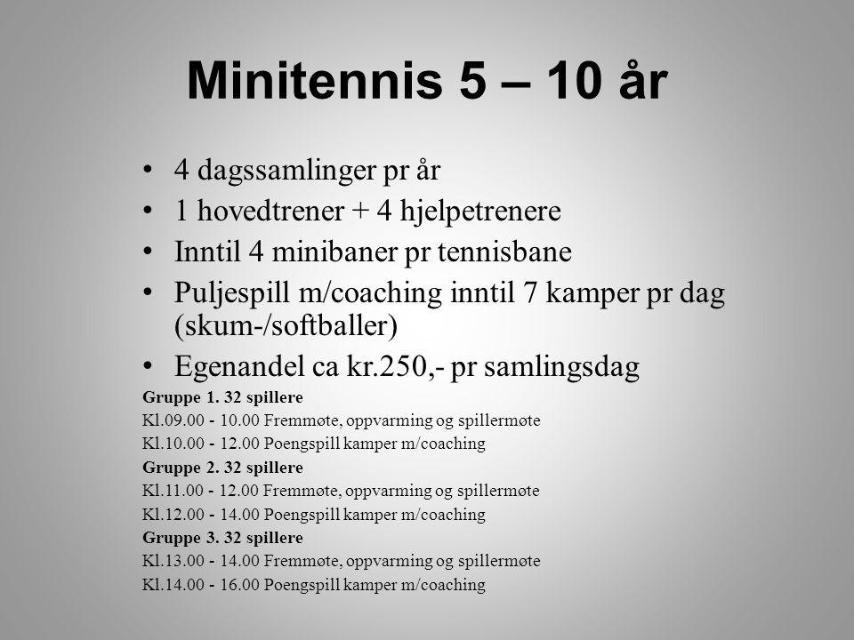 Miditennis 7 – 12 år • 4 dagssamlinger pr år • 2 hovedtrenere • 4 miditennisbaner • 7 kamper hver m/coaching (softballer) • Egenandel ca kr.300,- pr samlingsdag Gruppe 1.