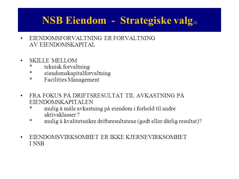 NSB Eiendom - Valg av løsning (1) •HOVEDKRITERIER FOR VALG AV LØSNING *allianse med etablert aktør *komplimentær kunnskap *fokus på forvaltning av eiendomskapital • SCANNING AV FORVALTNINGSMARKEDET I NORGE OG SVERIGE (våren 1999) *ISS, Forvaltningscompagniet, Basale, NEAS, Catella (SE), Jones Lang LaSalle (SE), Celexa Fastighetskapital AB (SE) •KONKLUSJON (NSBs vurdering) *Det norske miljøet besto (våren 1999) av: -tekniske forvaltere og forretningsførere -aktører innenfor deler av FM-markedet *Celexa Fastighetskapital (i dag Aberdeen Property Investors Nordic AB) -beste aktøren innenfor eiendomskapitalforvaltning - ikke transaksjonsdrevet -hadde ikke egen tekniske forvaltning i Norge (komplimentær)