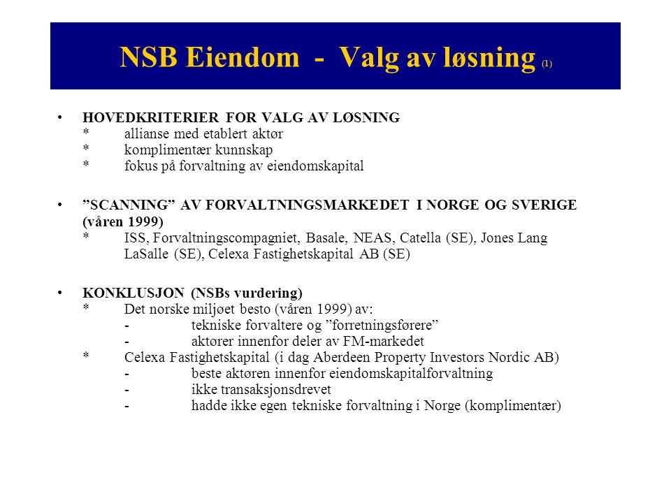 NSB Eiendom - Valg av løsning (2) •VALGTE Å STIFTE FELLES SELSKAP *NSB minoritetseier *Put / Call opsjon *5 års avtale med klausul om reforhandling / anbud •FORDELER FOR NSB *Rendyrker sin kjernevirksomhet (persontransport) *Profesjonaliserer sin eiendomskapitalforvaltning *NSB Eiendom blir kjernevirksomhet ved overføring til Celexa Eiendomsforvaltning AS •ULEMPER FOR NSB *Markedet er begrenset – passe på at det finnes reell konkurranse *Eiendomsindeks er ikke innarbeidet ennå (1999, nå IPD)