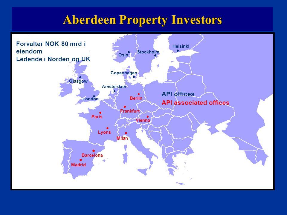 Aberdeen Property Investors i Norden API Norge 5 milliarder, 210 ansatte API Nordic Region 45 milliarder, 543 ansatte Celexa Eiendomsforvaltning AS 2,5 milliarder, 200 ansatte API Danmark 0 milliarder, 3 ansatte API Finland 20 milliarder, 80 ansatte API Sverige 20 milliarder, 250 ansatte Celexa Fastighetsservice AB 60 ansatte