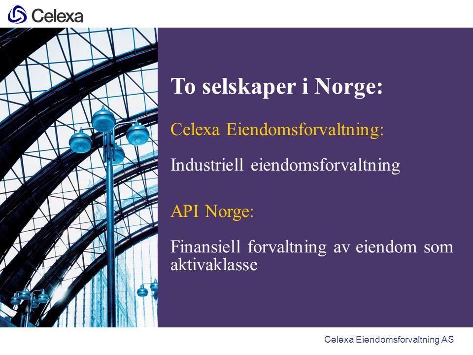 Region Oslo og hovedkontor Region Øst (Oslo) Bygninger: 670/460 000 kvm Areal (ca): 48 000 dekar Region Sør (Kristiansand): Bygninger: 1 80/108 000 kvm Areal (ca): 24 000 dekar Region Vest (Bergen): Bygninger: 160/86 000 kvm Areal (ca): 15 000 dekar Region Nord (Trondheim): Bygninger: 210/130 000 kvm Areal (ca): 59 000 dekar Kristiansand Bergen Oslo Trondheim Celexa regioner Narvik (lokal driftsavtale) Bygninger: 50/26 000 kvm Areal (ca): 1500 dekar Bodø