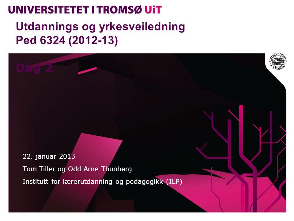 Utdannings og yrkesveiledning Ped 6324 (2012-13) http://www.karrieretroms.no/studie/page/3/