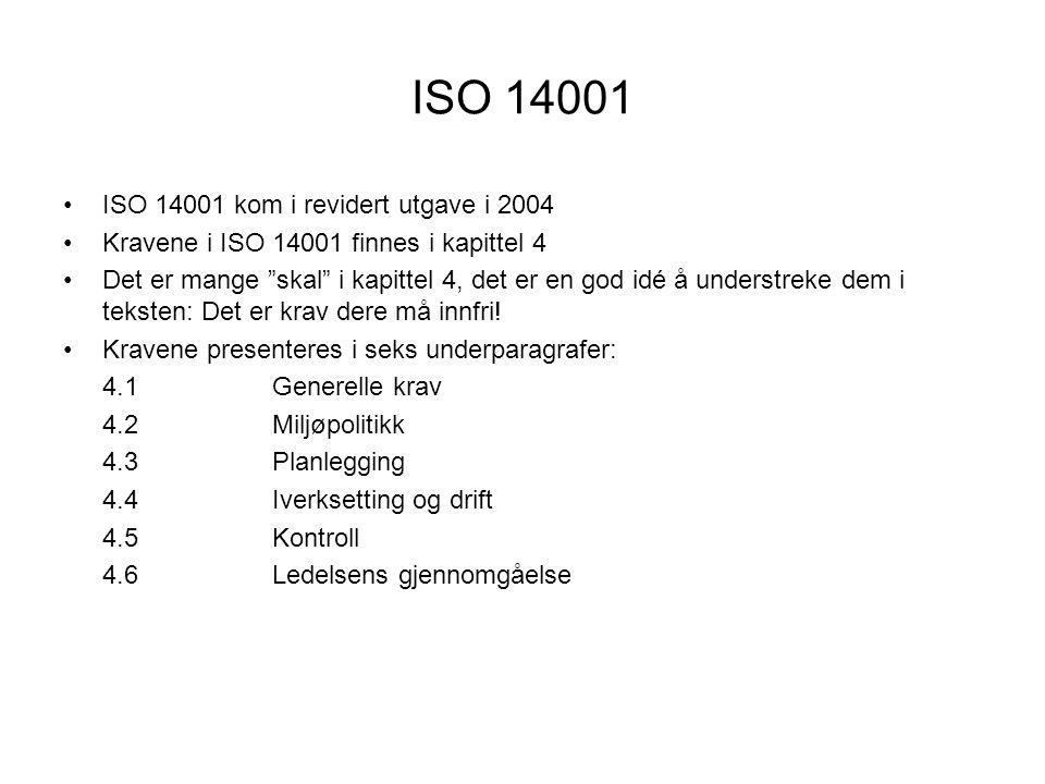 EMAS (Eco-Management and Audit Scheme) •EMAS ble revidert i 2000 •Enda mer lik ISO 14001 enn den var før •Fortsatt noen forskjeller: –Miljørapport er obligatorisk –Miljørapporten skal godkjennes –Rapporten må offentliggjøres –Blir registrert i nasjonalt og internasjonalt register •Er ikke så godt kjent utenfor Europa