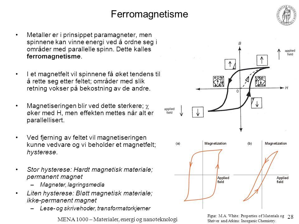 MENA 1000 – Materialer, energi og nanoteknologi Antiferromagnetisme og ferrimagnetisme •Hvis spinnene i en ferromagnet (a) ordner seg, men antiparallelt slik at vi får null netto spinn, kalles materialet antiferromagnetisk (b) •Hvis materialet ordner seg antiferromagnetisk, men slik at vi ikke får null netto spinn kalles materialet ferrimagnetisk Figurer: Shriver and Atkins: Inorganic Chemistry 29