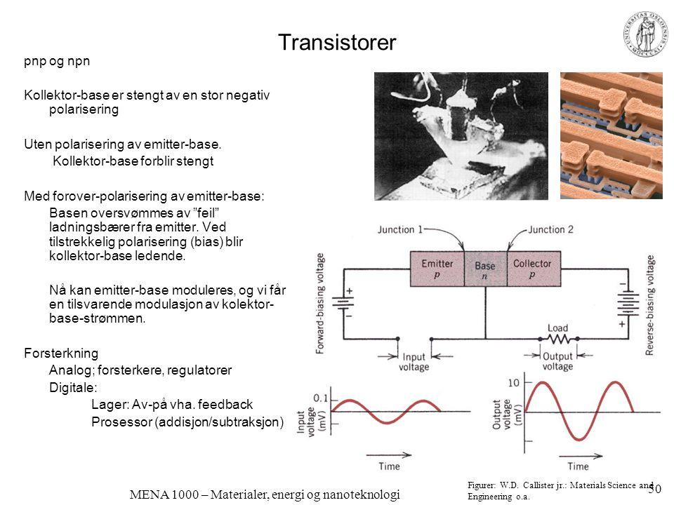MENA 1000 – Materialer, energi og nanoteknologi Transistor (npn) i typisk forsterker-krets 51