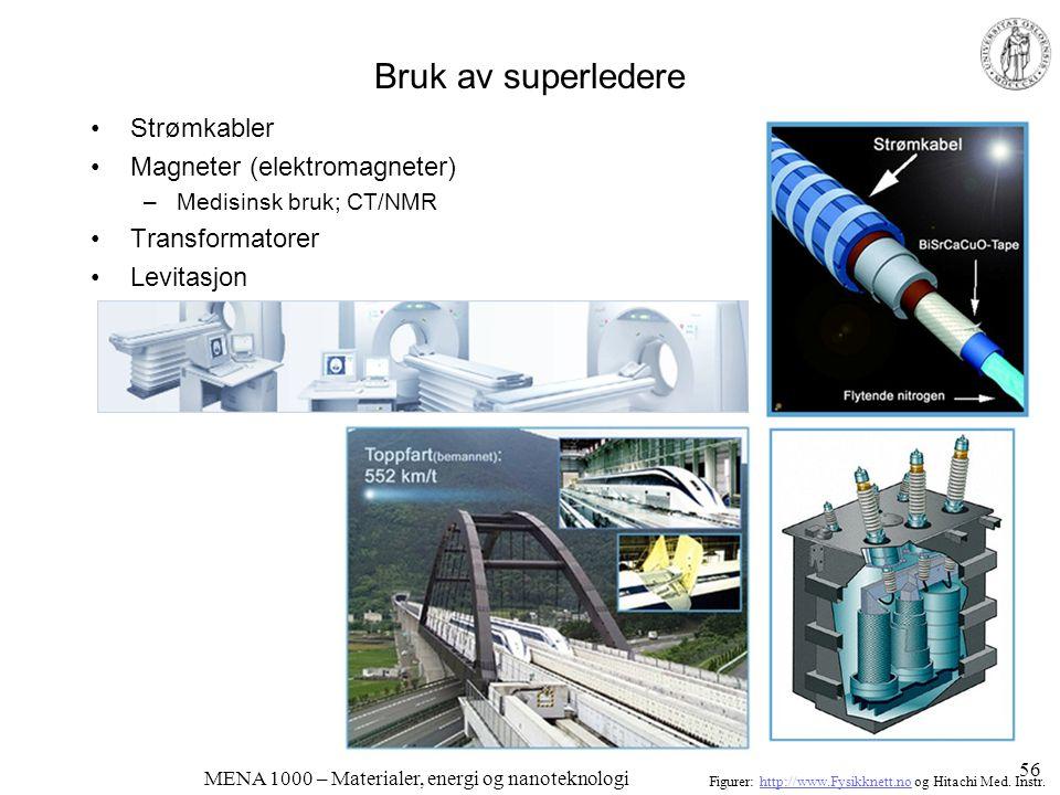 MENA 1000 – Materialer, energi og nanoteknologi Magnetoresistans •Resistansen påvirkes av magnetfelt –Giant Magneto-Resistance (GMR) –Colossal Magneto-Resistance (CMR) –For eksempel LaMnO 3 - baserte perovskitter •Brukes i moderne lesehoder for magnetisk lagring (harddisker) Figur: J.-G.