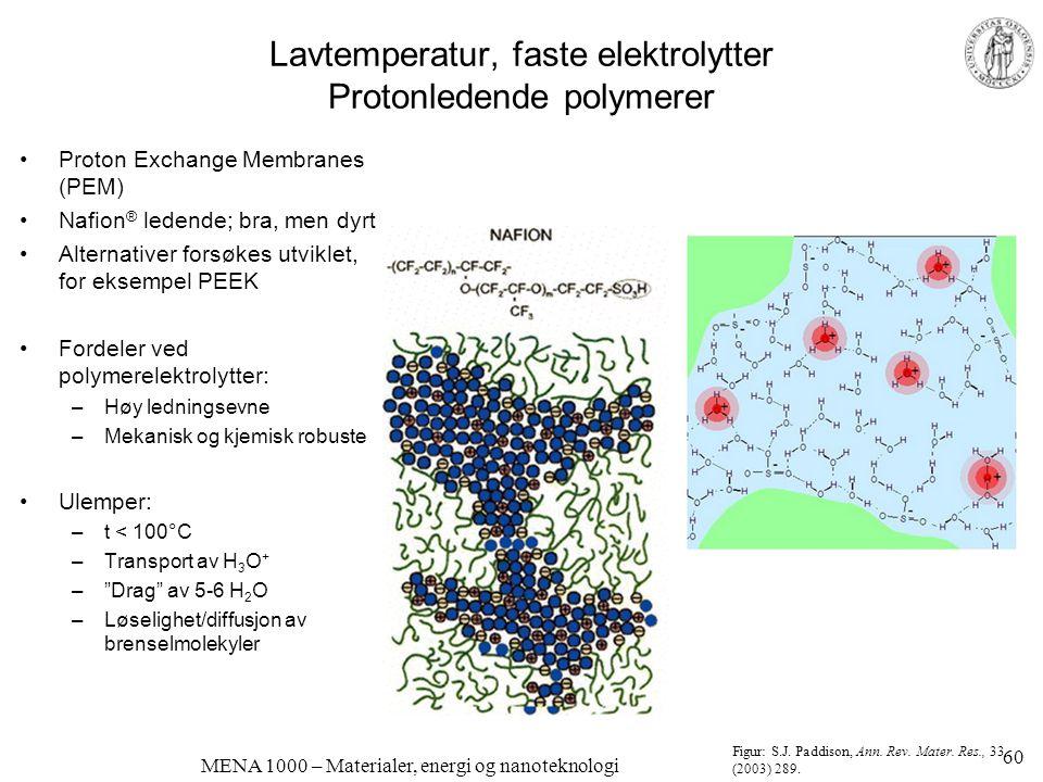 MENA 1000 – Materialer, energi og nanoteknologi Egentlig vandig vs egentlig fast protonledning •Flytende/vandig: –H 3 O + ioner flyter i en vannlignende fase •Fast-fase: –Protoner hopper mellom stasjonære oksidioner –Protonene er sterkt bundet –Krever stor vertsgitter-dynamikk å gi dem nok energi til å hoppe –Eksempel: Faste syrer: CsHSO 4, CsH 2 PO 4 •Brukbare ved 150-250°C •Løselige i vann under 100°C •Smelter eller dekomponerer ved for høy temperatur Figur: T.
