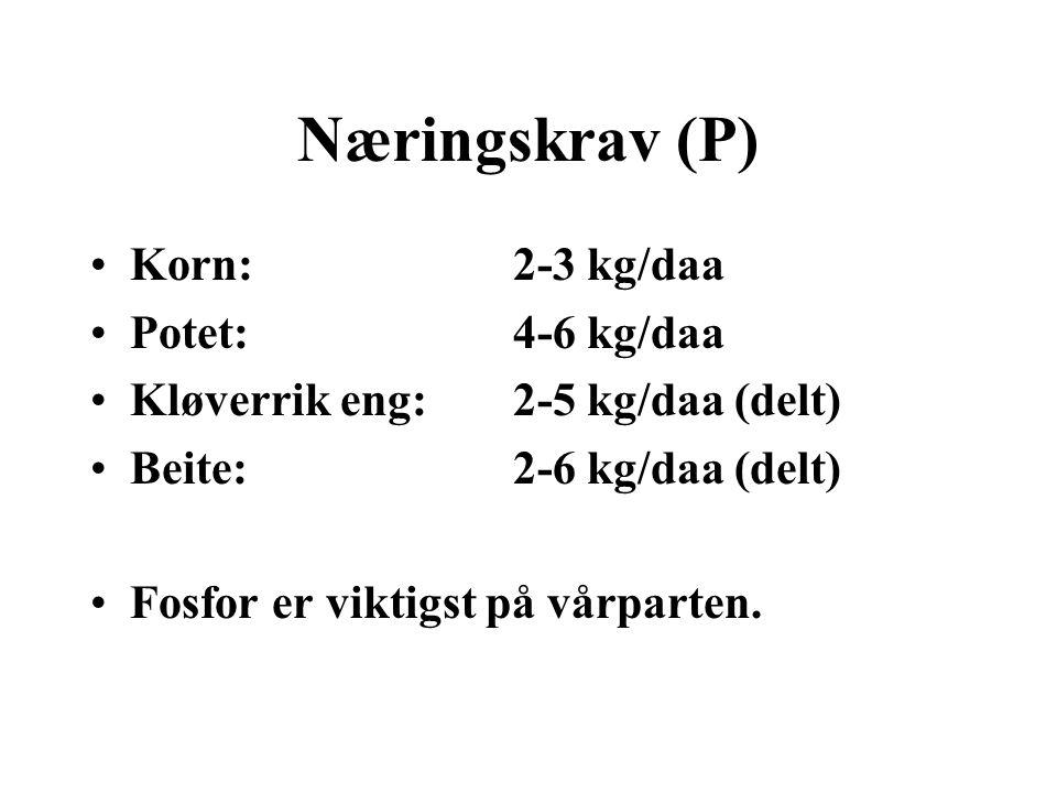 Kalium (K) •Tas opp av plantene som K + •Finnes i mange mineraler, og det naturlige innholdet i jorda kan være høyt.