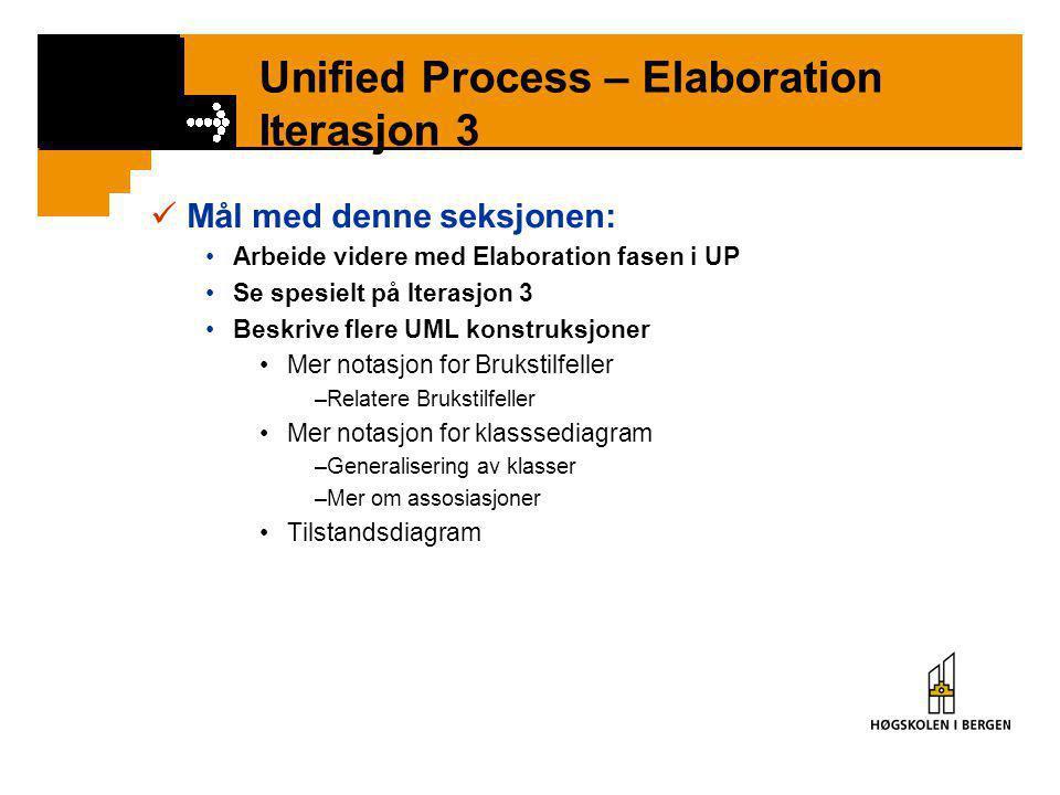 Unified Process – Elaboration Iterasjon 3  Mål med denne seksjonen: •Arbeide videre med Elaboration fasen i UP •Se spesielt på Iterasjon 3 •Beskrive flere UML konstruksjoner •Mer notasjon for Brukstilfeller –Relatere Brukstilfeller •Mer notasjon for klasssediagram –Generalisering av klasser –Mer om assosiasjoner •Tilstandsdiagram
