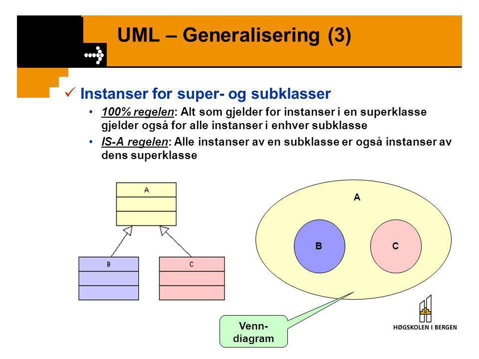 UML – Generalisering (3)  Instanser for super- og subklasser •100% regelen: Alt som gjelder for instanser i en superklasse gjelder også for alle instanser i enhver subklasse •IS-A regelen: Alle instanser av en subklasse er også instanser av dens superklasse BC A Venn- diagram