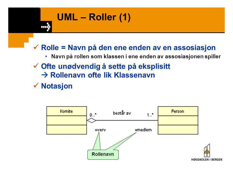 UML – Roller (1)  Rolle = Navn på den ene enden av en assosiasjon •Navn på rollen som klassen i ene enden av assosiasjonen spiller  Ofte unødvendig å sette på eksplisitt  Rollenavn ofte lik Klassenavn  Notasjon Rollenavn