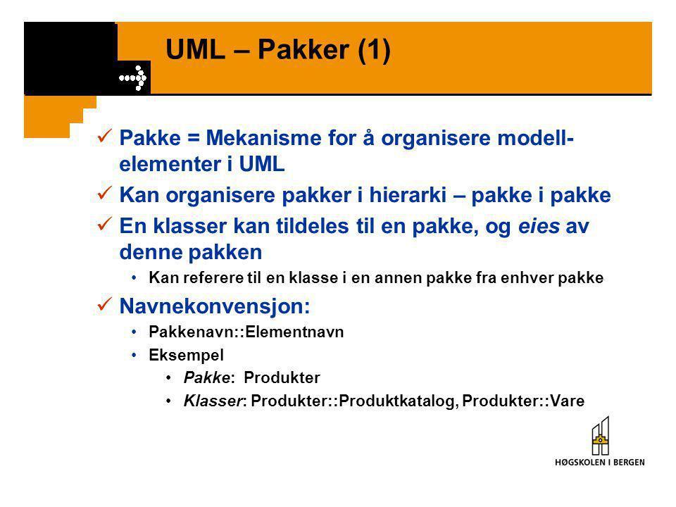 UML – Pakker (1)  Pakke = Mekanisme for å organisere modell- elementer i UML  Kan organisere pakker i hierarki – pakke i pakke  En klasser kan tildeles til en pakke, og eies av denne pakken •Kan referere til en klasse i en annen pakke fra enhver pakke  Navnekonvensjon: •Pakkenavn::Elementnavn •Eksempel •Pakke: Produkter •Klasser: Produkter::Produktkatalog, Produkter::Vare