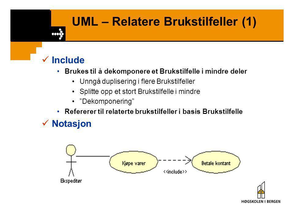 UML – Relatere Brukstilfeller (1)  Include •Brukes til å dekomponere et Brukstilfelle i mindre deler •Unngå duplisering i flere Brukstilfeller •Splitte opp et stort Brukstilfelle i mindre • Dekomponering •Refererer til relaterte brukstilfeller i basis Brukstilfelle  Notasjon