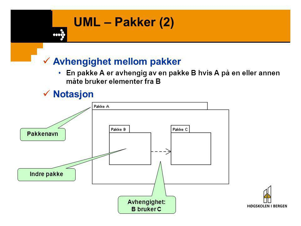 UML – Pakker (2)  Avhengighet mellom pakker •En pakke A er avhengig av en pakke B hvis A på en eller annen måte bruker elementer fra B  Notasjon Pakkenavn Indre pakke Avhengighet: B bruker C