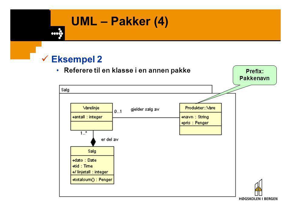 UML – Pakker (4)  Eksempel 2 •Referere til en klasse i en annen pakke Prefix: Pakkenavn