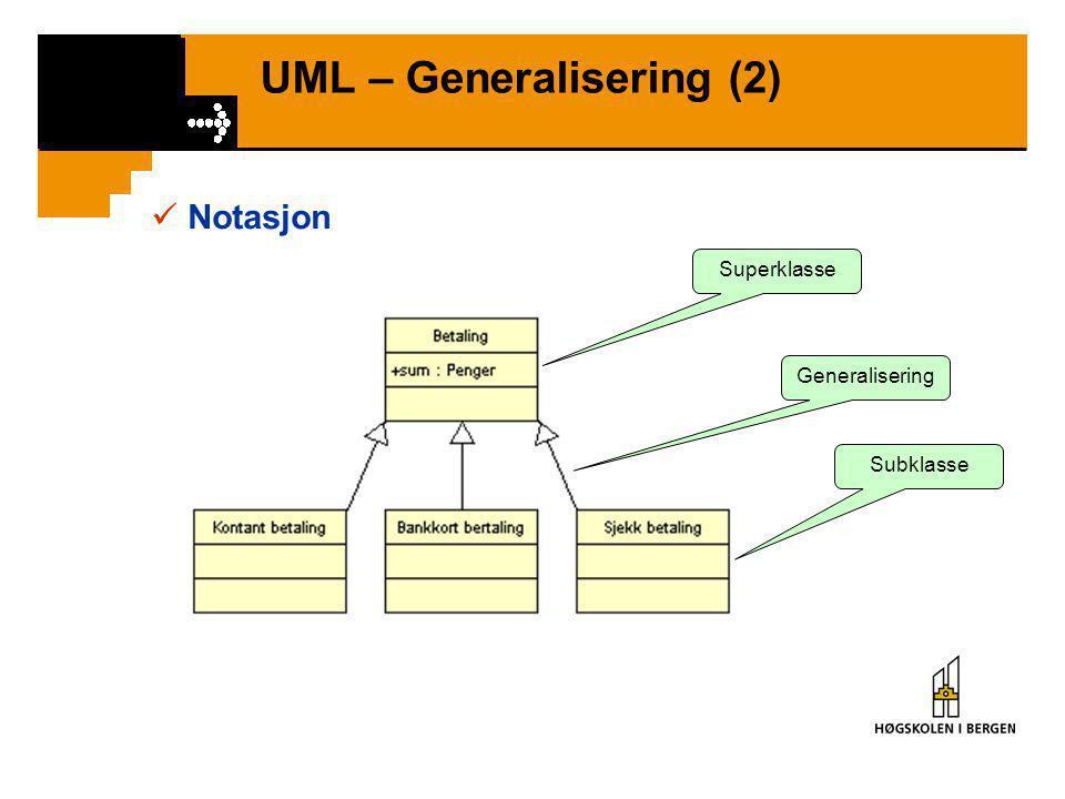 UML – Generalisering (2)  Notasjon Superklasse Subklasse Generalisering