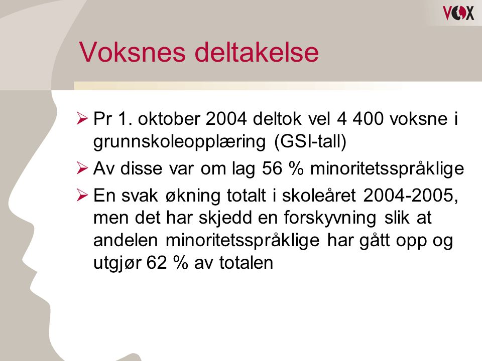 Voksnes deltakelse II  Ca 10% av deltakervolumet deltar i annen kommune enn der de er folkeregistrert  Vel 70% av kommunene har ikke rapportert etnisk norske deltakere til GSI for 2004/2005