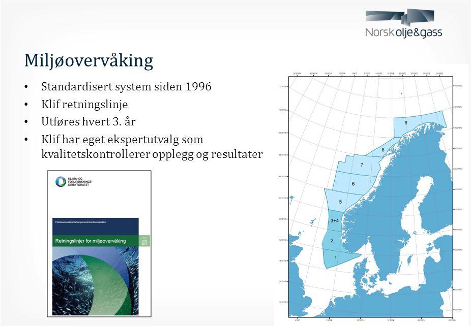 Miljøovervåking • Sedimentovervåking siden 1973 • Effektene av utslipp av borkaks ved vannbasert borevæske er små og begrenset til 50-100 meter fra utslippspunktet [Miljøovervåkingsdatabasen, MOD] • Vannsøyleovervåking siden 1993 • Tilstandsovervåking • Effektovervåkingen gjøres ved bruk av fisk og blåskjell i bur i ulik avstand fra utslippspunktet.