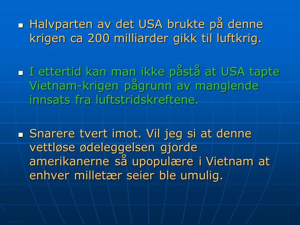USA slapp over 8 mill tonn bomber.Ca 2000 amerikanske fly ble skutt ned.