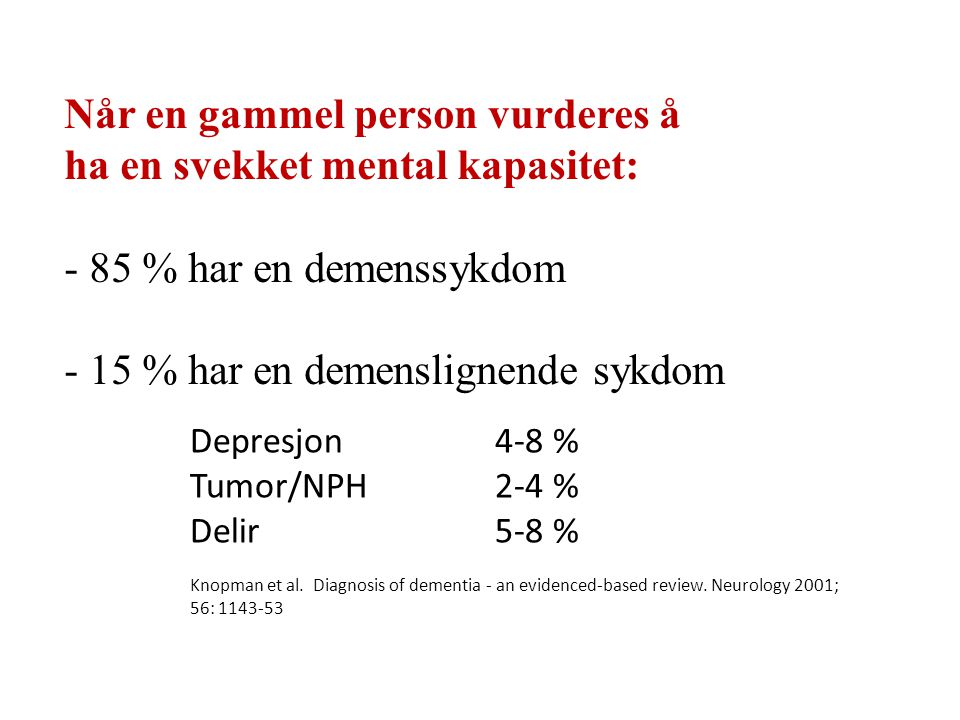 Demens i isse- og tinninglapp (demens av Alzheimers type) Demens i frontallappene (frontotemporllappsdemens Ulike typer demens rammer ulike hjerneområderområder Demens i subkortikale områder (Parkinson sykdom og demens, Korsakoffs amnesi)