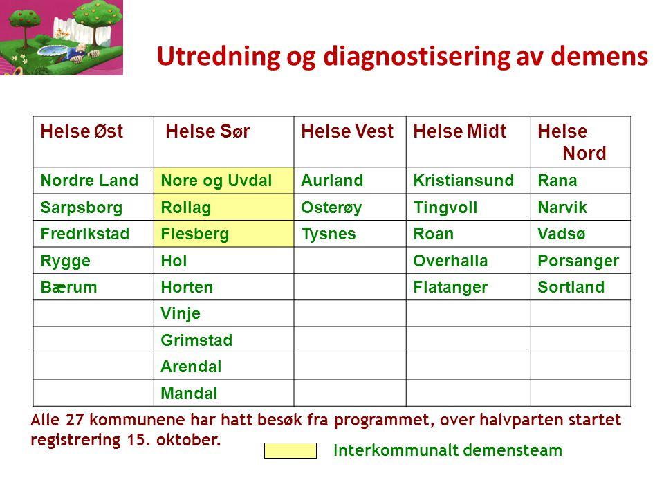 Innhold i utredning av demens: Somatiske undersøkelser Anamnestiske opplysninger Screening Observasjon i dagliglivet