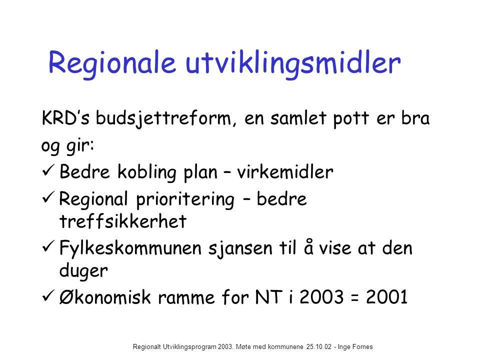 Regionalt Utviklingsprogram 2003.