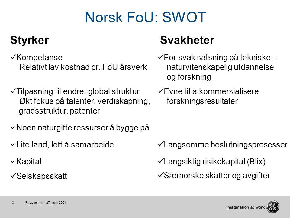 Fagseminar – 27.april 20044 Norsk FoU: SWOT MuligheterUtfordringer Vi kan satse mye mer .