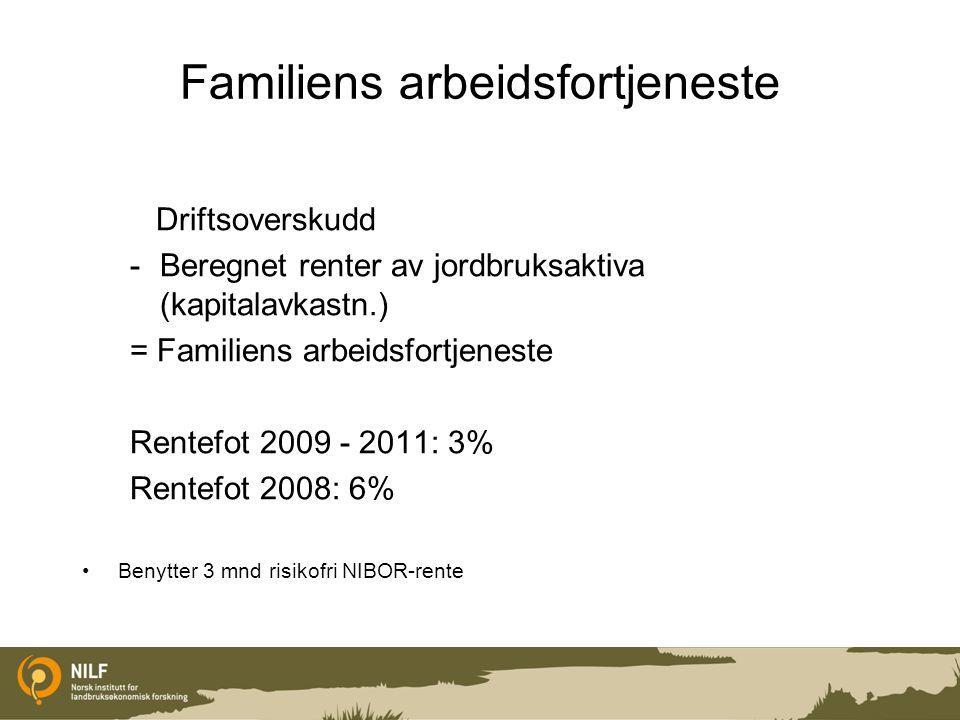 TRØNDELAG 2011 - driftsgranskingene Familiens arbeidsfortjeneste i gjennomsnitt kr 194 830 per årsverk (1845 timer) Økning på kr 6 955 i forhold til 2010.