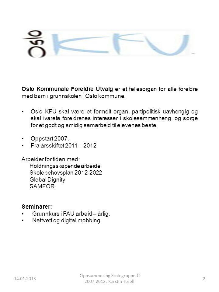 14.01.2013 Oppsummering Skolegruppe C 2007-2012: Kerstin Torell 3 Hva er en skolegruppe.