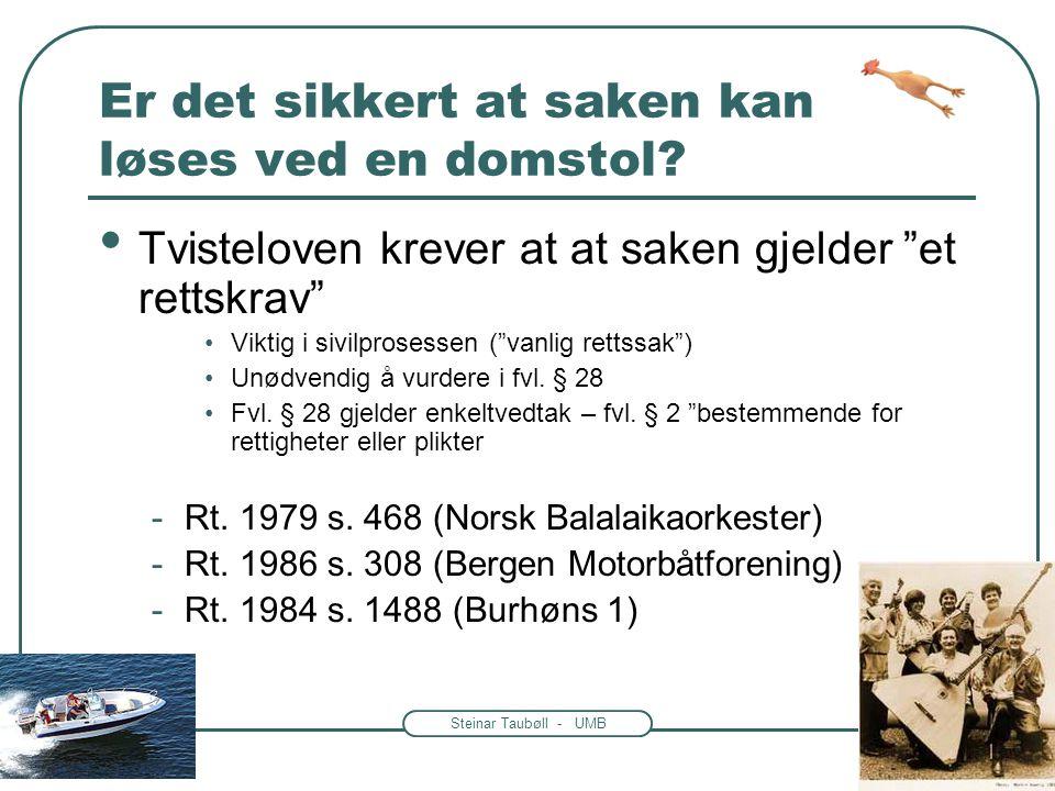 Steinar Taubøll - UMB Er det sikkert at saken kan løses ved en domstol.