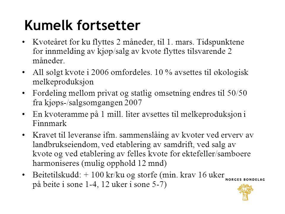 Geit + 0,02 kr/liter i målpris + 1000 kr i driftstilskudd for enkeltbruk, - 13.200 kr for samdrift med 2 medl.
