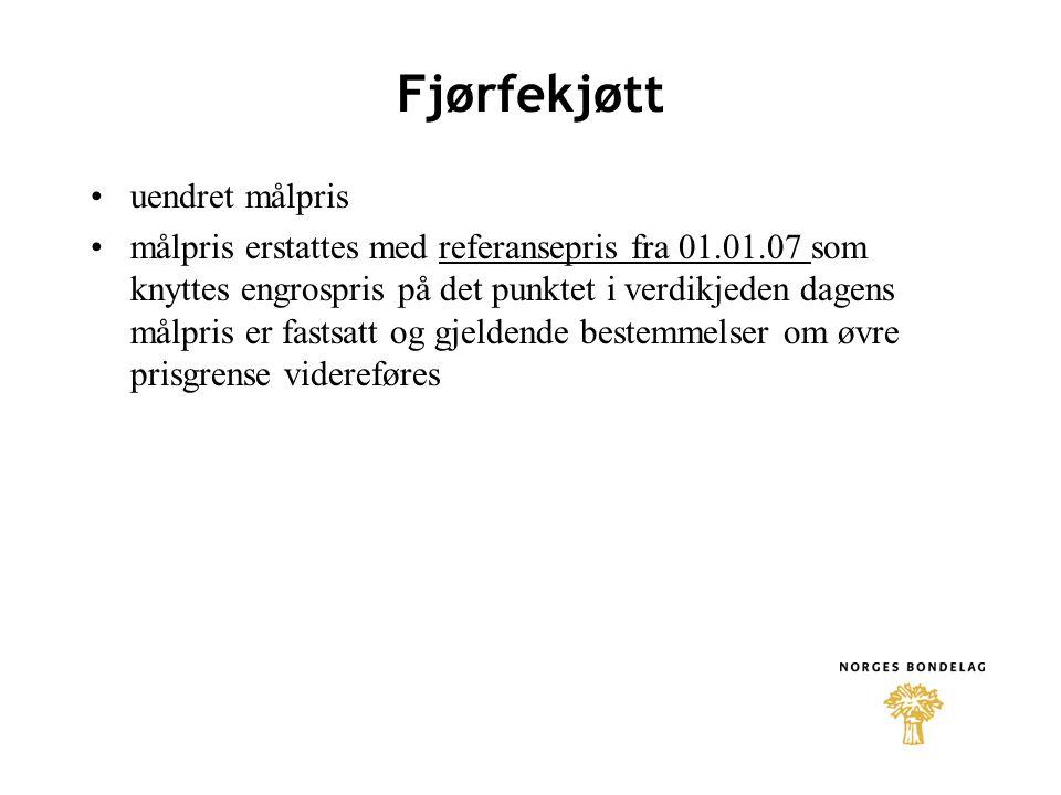 Egg + 23 øre/kg i økt målpris + 5 øre/kg i distriktstilskudd Vestlandet, Trøndelag og Nord-Norge uendret dyretilskudd til verpehøns