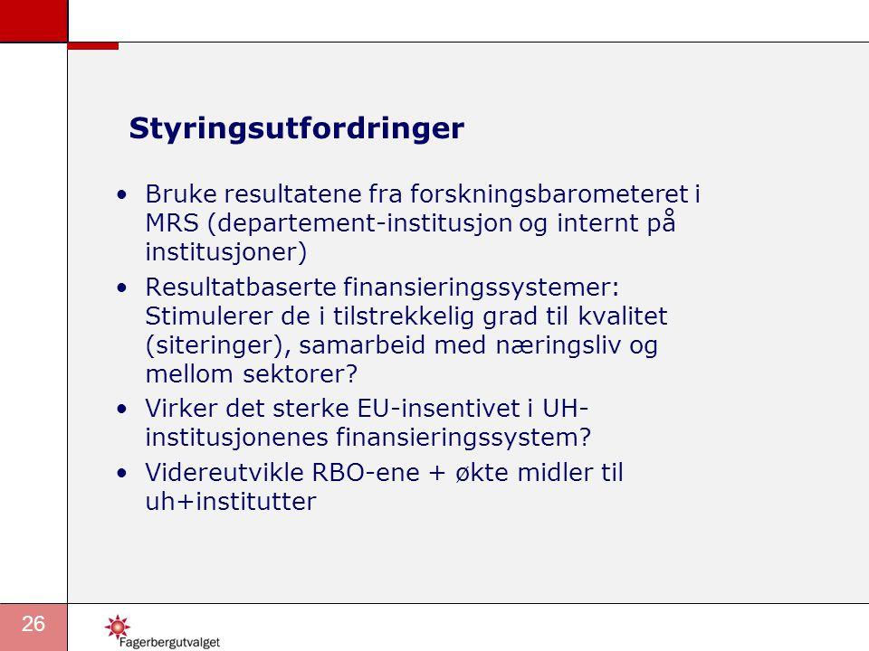 27 Forslaget om Forskningsbarometer Pilot som bør videreutvikles, ta utgangspunkt i forslag som kommer fram gjennom høringsprosessen, internasjonalt utviklingsarbeid og norsk kunnskapsutvikling.