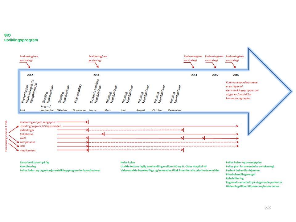 2012 2030 Basistjenester i SiO Utvikling avSiO basismodell Felles helse- og omsorgsplan i SIO Gapanalysen, kommunal ho-planlegging og statlige signaler Konkretisering av behov i/for alle kommuner og vurdere løsninger Materiell rigging : -Kommuner -Klynger -Region Organisasjonsutvikling: -pågående prosjekter i nettverk (IKT, kreft, HPH, folkehelse etc) -plan og strategi -ideologi og modell -ledelse -styring -felles strukturer, rutiner etc.