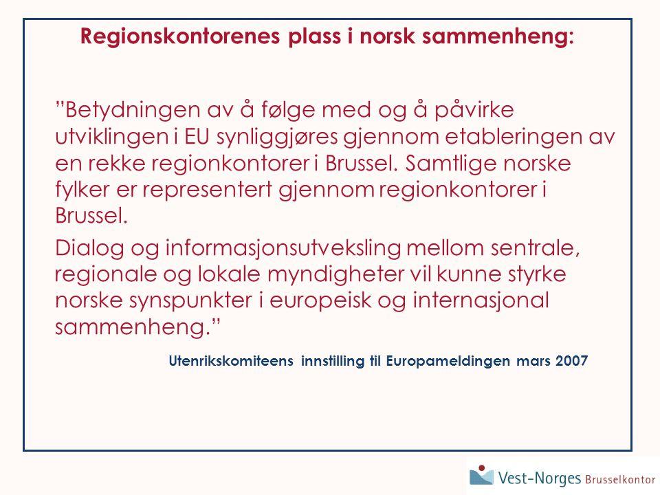 Organisering Brussel –Direktør + 2 traineer 3 fylkeskontakter: Øyvind Dahl Arne Monrad Johnsen Ralph Kirchhoff Styre 7 medlemmer: Representanter fra alle 4 målgrupper offentlige, næringsliv, + geografisk og politisk representativt