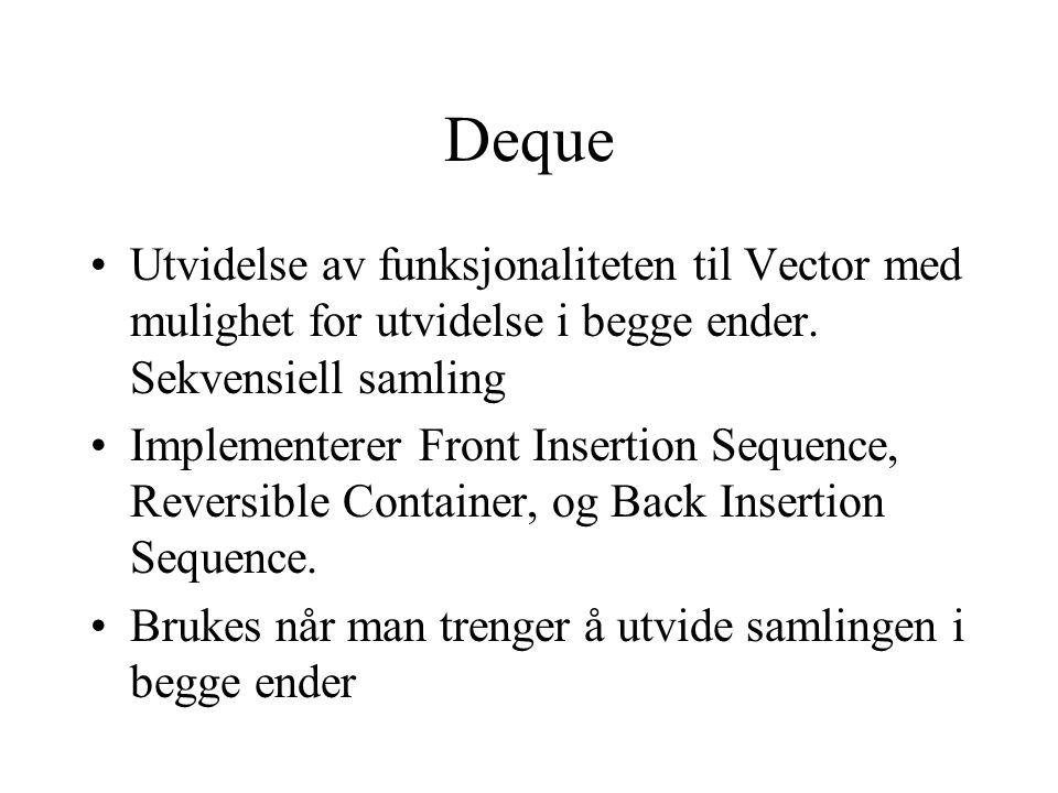Deque Utvidelse av funksjonaliteten til Vector med mulighet for utvidelse i begge ender.