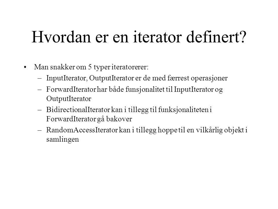 Hvordan er en iterator definert.