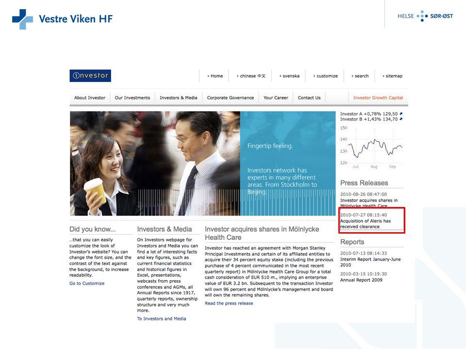 Økonomi BOI eies av Aleris Helse AS som igjen eies av det svenske investeringsforetaket Investor Investor ble startet for snart 100 år siden av Wallenberg familien og har i dag investeringsvirksomhet i Europa, Asia og USA