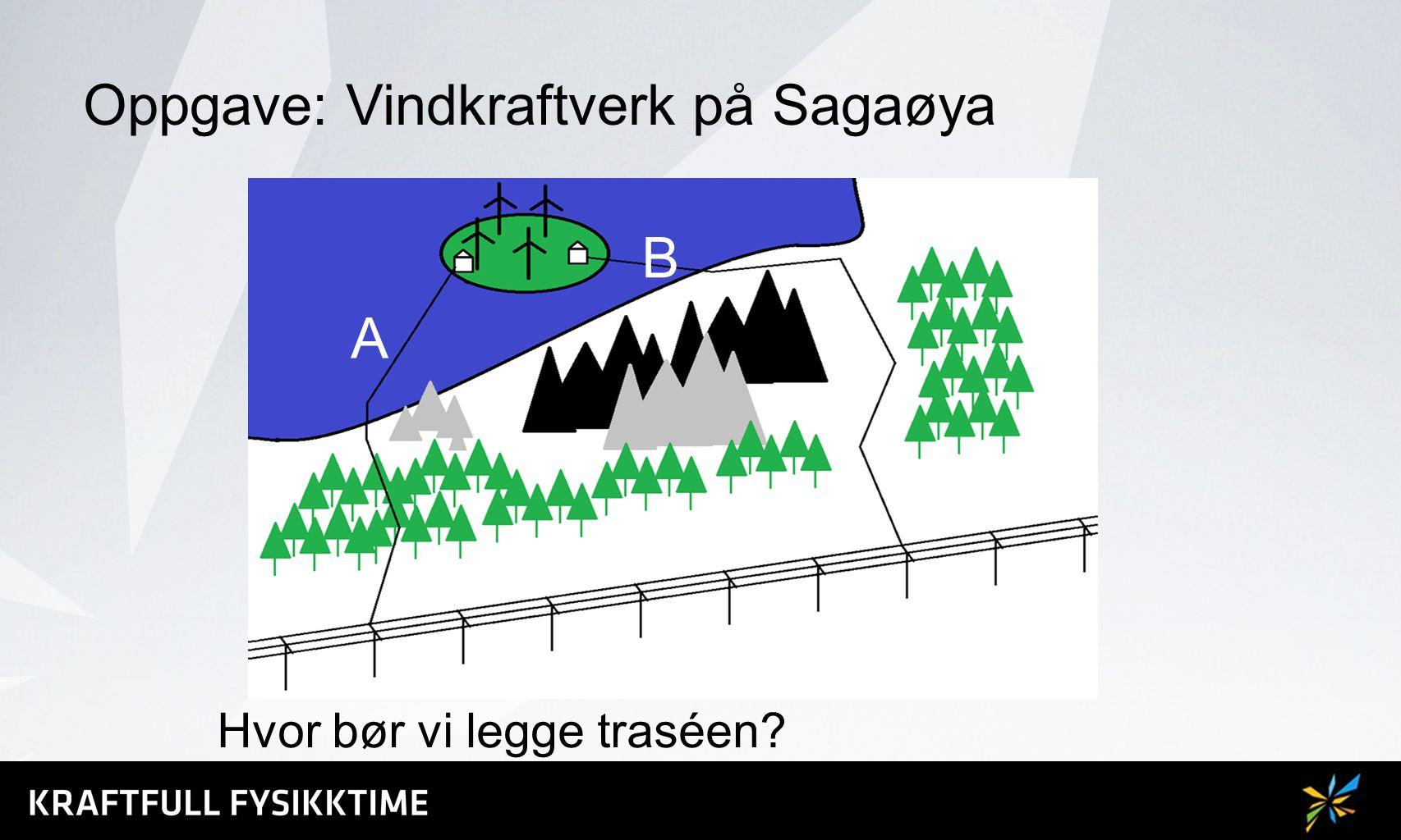 Oppgave: Vannkraftverk på Sagaøya Hvor bør vi legge traséen? A B