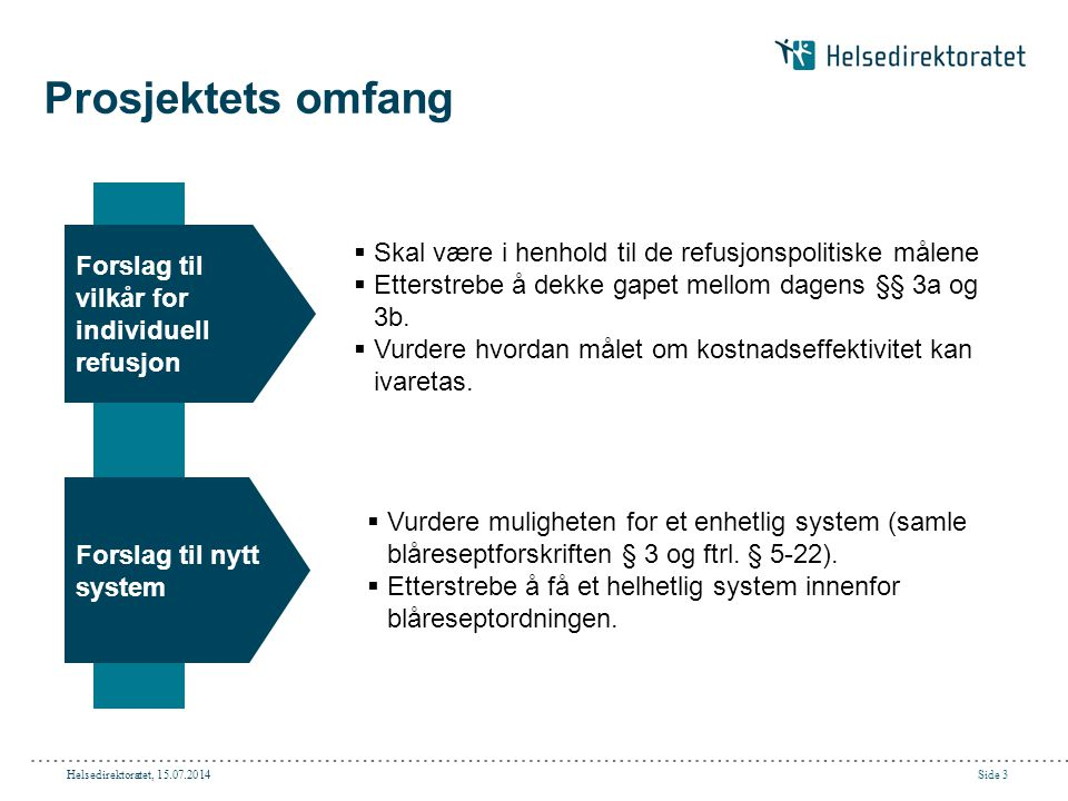 Helsedirektoratet, 15.07.2014Side 4 Avgrensninger for prosjektet  Prosjektet skal kun ha fokus på legemidler (ikke gjennomgå retningslinjer for næringsmidler og medisinsk forbruksmateriell.