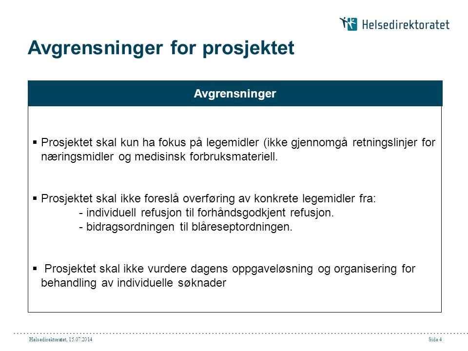 Helsedirektoratet, 15.07.2014Side 5 Faser i prosjektet 1.