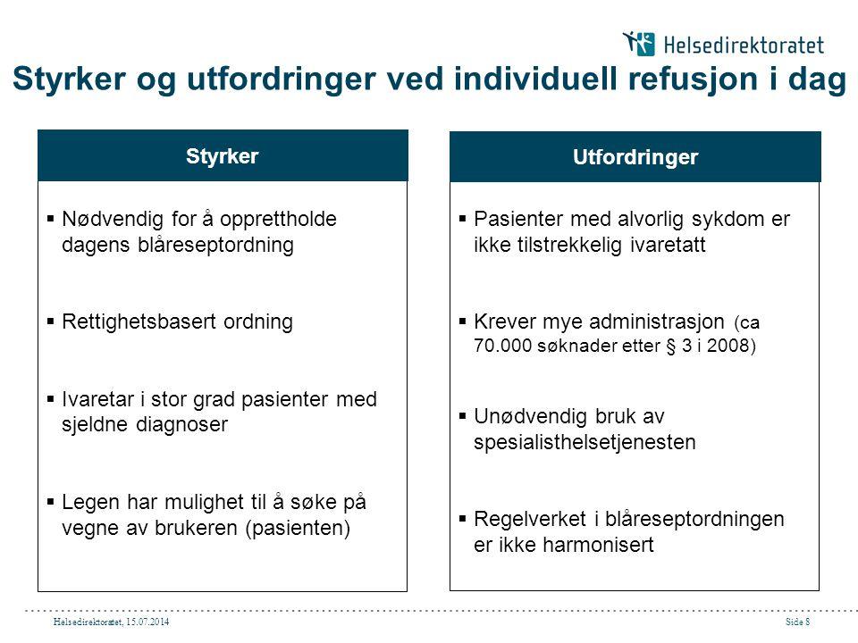Helsedirektoratet, 15.07.2014Side 9 Problemstillinger som diskuteres i prosjektet Krav til kostnads- effektivitet Krav til alvorlighetsgra d  Hvordan definere alvorlig sykdom og hva er ikke alvorlig nok.